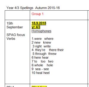 Year 43 spellings